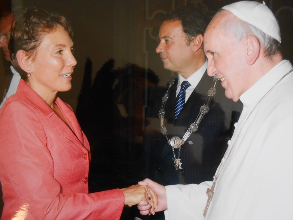 Littlejohn meets Pope Francis at the Vatican on September 20, 2013