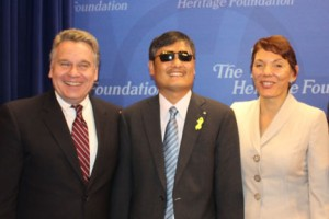 Cong. Chris Smith, Chen Guangcheng and Reggie Littlejohn after speaking at The Heritage Foundation.  Photo credit:  Karen Cross
