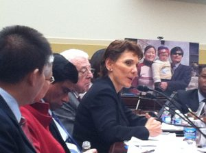 Reggie Littlejohn testifies for the release of Chen Guangcheng and his family, at a Congressional Hearing chaired by Rep. Chris Smith; May 3, 2012