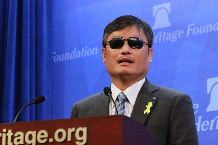 Chen Guangcheng speaking at The Heritage Foundation.  Photo credit:  Penny Starr, CNS News
