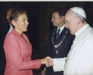 "Reggie Littlejohn met Pope Francis in October 2013.  She was named one of the ""Top 10"" People of 2013 by Inside the Vatican magazine."