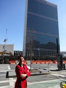 Reggie Littlejohn in front of UN