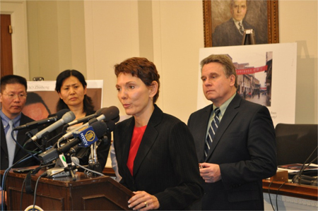 Reggie Littlejohn speaks at the Capitol Hill Press Conference on Chinese Human Rights of 1/18/11. Also pictured (from the right) are Congressman Chris Smith, Geng He, wife of Gao Zhisheng, and Bob Fu, President of China Aid.